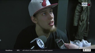 Kelly Olynyk reacts to the road win over the Hornets