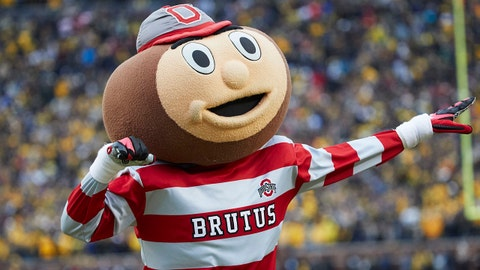 Nov 25, 2017; Ann Arbor, MI, USA; Ohio State Buckeyes mascot Brutus celebrates a touchdown in the second half against the Michigan Wolverines at Michigan Stadium. Mandatory Credit: Rick Osentoski-USA TODAY Sports