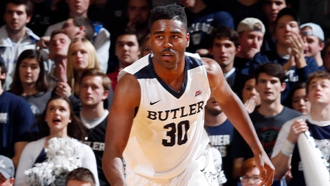 Dec 5, 2017; Indianapolis, IN, USA; Butler Bulldogs forward Kelan Martin (30) brings the ball up court against the Utah Utes during the second half at Hinkle Fieldhouse. Mandatory Credit: Brian Spurlock-USA TODAY Sports