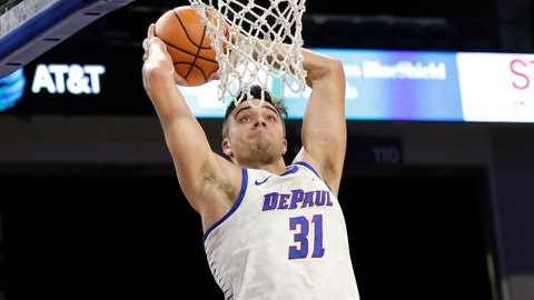 DePaul guard Max Strus goes up for a dunk against Youngstown during the second half of an NCAA college basketball game Saturday, Dec. 2, 2017, in Chicago. DePaul won 89-73. (AP Photo/Nam Y. Huh)