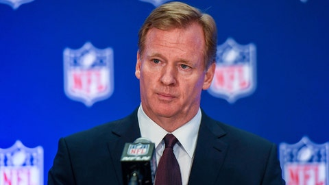 Oct 17, 2017; New York, NY, USA; NFL commissioner Roger Goodell speaks to the media after the NFL owners meeting at Conrad Hotel. Mandatory Credit: Catalina Fragoso-USA TODAY Sports