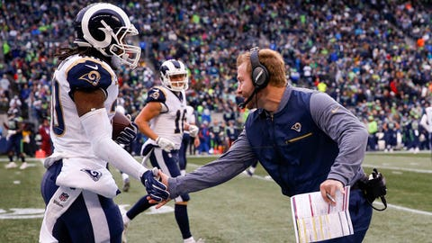 Dec 17, 2017; Seattle, WA, USA; Los Angeles Rams head coach Sean McVay greets running back Todd Gurley (30) following a touchdown against the Seattle Seahawks during the second quarter at CenturyLink Field. Mandatory Credit: Joe Nicholson-USA TODAY Sports