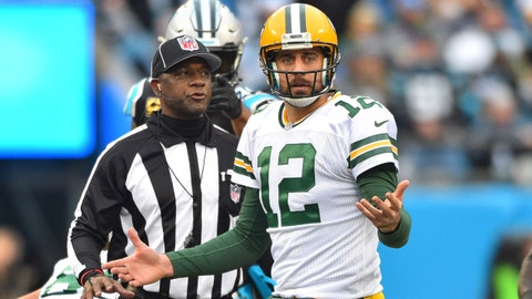 Dec 17, 2017; Charlotte, NC, USA; Green Bay Packers quarterback Aaron Rodgers (12) reacts in the fourth quarter at Bank of America Stadium. Mandatory Credit: Bob Donnan-USA TODAY Sports