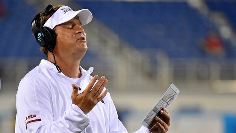 Sep 1, 2017; Boca Raton, FL, USA; Florida Atlantic Owls head coach Lane Kiffin reacts as the game against the Navy Midshipmen is suspended for lightning for the second time during the second half at FAU Football Stadium. Mandatory Credit: Jasen Vinlove-USA TODAY Sports