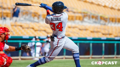 Oct 11, 2017; Glendale, AZ, USA; Atlanta Braves outfielder Ronald Acuna plays for the Peoria Javelinas against the Glendale Desert Dogs during an Arizona Fall League game at Camelback Ranch. Mandatory Credit: Mark J. Rebilas-USA TODAY Sports
