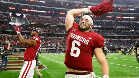 Dec 2, 2017; Arlington, TX, USA; Oklahoma Sooners quarterback Baker Mayfield (6) celebrates after the Big 12 Championship game against the TCU Horned Frogs at AT&T Stadium. Mandatory Credit: Kevin Jairaj-USA TODAY Sports