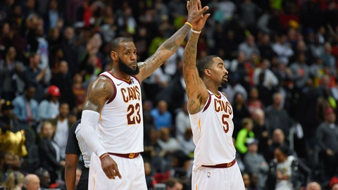 Nov 30, 2017; Atlanta, GA, USA; Cleveland Cavaliers forward LeBron James (23) and guard JR Smith (5) react shown on the court against the Atlanta Hawks during the second half at Philips Arena. Mandatory Credit: Dale Zanine-USA TODAY Sports