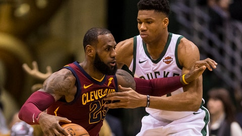Dec 19, 2017; Milwaukee, WI, USA; Cleveland Cavaliers forward LeBron James (23) drives for the basket against Milwaukee Bucks forward Giannis Antetokounmpo (34) during the first quarter at BMO Harris Bradley Center. Mandatory Credit: Jeff Hanisch-USA TODAY Sports
