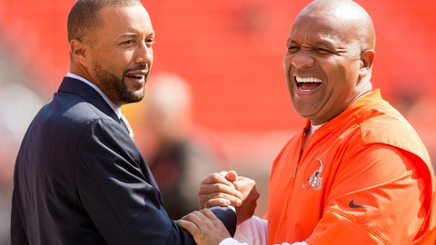 Sep 10, 2017; Cleveland, OH, USA; Cleveland Browns executive vice president of football operations Sashi Brown, left, shakes hands with head coach Hue Jackson before the game at FirstEnergy Stadium. Mandatory Credit: Scott R. Galvin-USA TODAY Sports