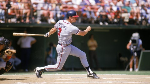 SAN DIEGO - 1987:  Dale Murphy #3 of the Atlanta Braves swings a misses for a strike during a game against the San Diego Padres in 1987 at Jack Murphy Stadium in San Diego, California.  (Photo by Stephen Dunn/Getty Images)