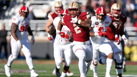 Nov 11, 2017; Chestnut Hill, MA, USA; Boston College Eagles running back AJ Dillon (2) breaks free for a rushing touchdown during the first half against the North Carolina State Wolfpack at Alumni Stadium. Mandatory Credit: Greg M. Cooper-USA TODAY Sports