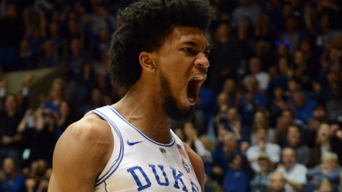 Dec 30, 2017; Durham, NC, USA;Duke Blue Devils forward Marvin Bagley III (35) reacts during the first half against the Florida State Seminoles at Cameron Indoor Stadium. Mandatory Credit: Rob Kinnan-USA TODAY Sports