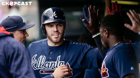 Aug 17, 2017; Denver, CO, USA; Atlanta Braves first baseman Freddie Freeman (5) celebrates in the dugout after hitting a one run home run in the fifth inning against the Colorado Rockies at Coors Field. Mandatory Credit: Isaiah J. Downing-USA TODAY Sports