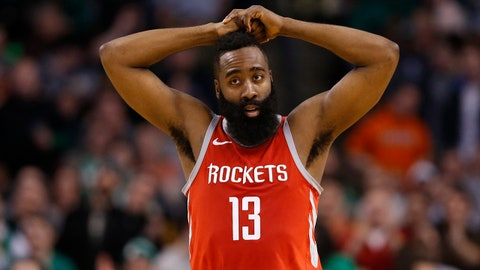 Dec 28, 2017; Boston, MA, USA; Houston Rockets guard James Harden (13) reacts during the second half against the Boston Celtics at TD Garden. Mandatory Credit: Greg M. Cooper-USA TODAY Sports