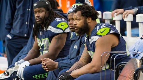 Dec 17, 2017; Seattle, WA, USA; Seattle Seahawks defensive end Michael Bennett (72) sits on the bench during the second half in a game against the Los Angeles Rams at CenturyLink Field. The Rams won 42-7. Mandatory Credit: Troy Wayrynen-USA TODAY Sports