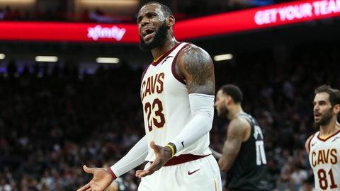 Dec 27, 2017; Sacramento, CA, USA; Cleveland Cavaliers forward LeBron James (23) argues after a call during the second half  against the Sacramento Kings at Golden 1 Center. Mandatory Credit: Sergio Estrada-USA TODAY Sports