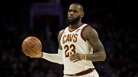 Nov 27, 2017; Philadelphia, PA, USA; Cleveland Cavaliers forward LeBron James (23) in a game against the Philadelphia 76ers at Wells Fargo Center. Mandatory Credit: Bill Streicher-USA TODAY Sports