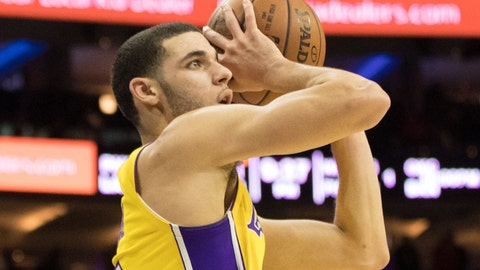 Dec 7, 2017; Philadelphia, PA, USA; Los Angeles Lakers guard Lonzo Ball (2) shoots the ball against the Philadelphia 76ers during the third quarter at Wells Fargo Center. Mandatory Credit: Bill Streicher-USA TODAY Sports