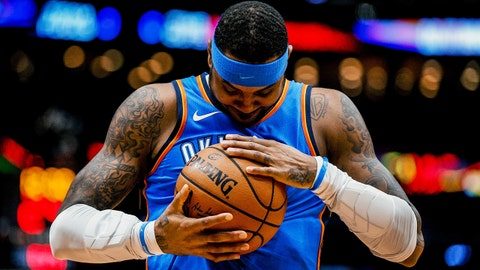 Nov 20, 2017; New Orleans, LA, USA; Oklahoma City Thunder forward Carmelo Anthony (7) against the New Orleans Pelicans before tip off of a game at the Smoothie King Center. Mandatory Credit: Derick E. Hingle-USA TODAY Sports
