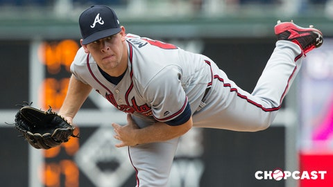 Aug 28, 2017; Philadelphia, PA, USA; Atlanta Braves relief pitcher A.J. Minter (67) throws a pitch during the ninth inning against the Philadelphia Phillies at Citizens Bank Park. Mandatory Credit: Bill Streicher-USA TODAY Sports