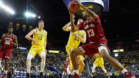 Dec 2, 2017; Ann Arbor, MI, USA; Indiana Hoosiers forward Juwan Morgan (13) looks to shoot in the second half against the Michigan Wolverines at Crisler Center. Mandatory Credit: Rick Osentoski-USA TODAY Sports