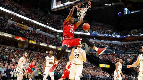 Dec 16, 2017; Indianapolis, IN, USA; Indiana Hoosiers forward Juwan Morgan (13) dunks against Notre Dame Fighting Irish forward Martinas Geben (23) during the first half at Bankers Life Fieldhouse. Mandatory Credit: Brian Spurlock-USA TODAY Sports