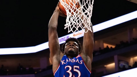 Dec 21, 2017; Sacramento, CA, USA; Kansas Jayhawks center Udoka Azubuike (35) dunks the ball against the Stanford Cardinal during the second half at Golden 1 Center. Mandatory Credit: Kelley L Cox-USA TODAY Sports