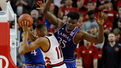 Kansas slips past Nebraska 73-72 to snap losing streak