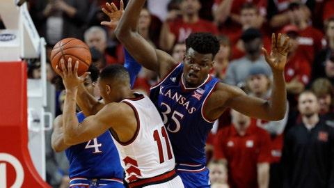 Kansas slips past Nebraska 73-72 to snap losing streak