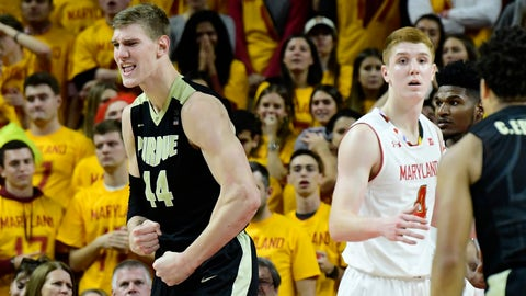 Dec 1, 2017; College Park, MD, USA; Purdue Boilermakers center Isaac Haas (44) reacts after making a basket and being fouled during the second half against the Maryland Terrapins at XFINITY Center. Purdue Boilermakers defeated Maryland Terrapins 80-75. Mandatory Credit: Tommy Gilligan-USA TODAY Sports
