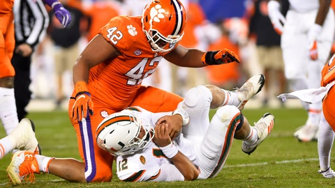 Christian Wilkins and the Tigers' defensive line never let Miami's offense get comfortable