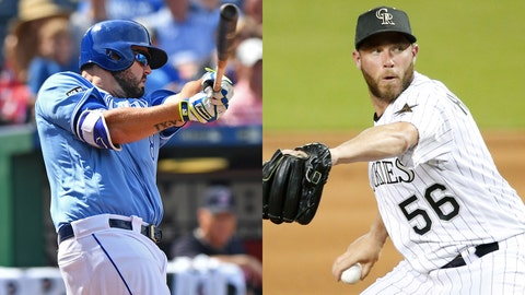 Royals third baseman Mike Moustakas and Rockies closer Greg Holland