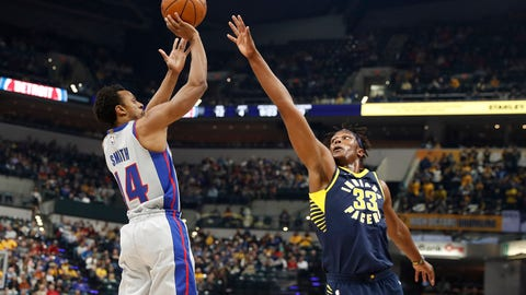 Dec 15, 2017; Indianapolis, IN, USA; Detroit Pistons guard Ish Smith (14) takes a shot against Indiana Pacers center Myles Turner (33) during the first quarter at Bankers Life Fieldhouse. Mandatory Credit: Brian Spurlock-USA TODAY Sports