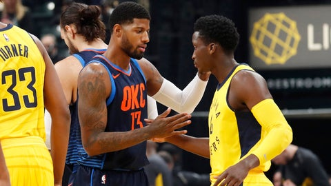Dec 13, 2017; Indianapolis, IN, USA; Oklahoma City Thunder forward Paul George (13) greets Indiana Pacers guard Victor Oladipo (4) prior to their game at Bankers Life Fieldhouse. Mandatory Credit: Brian Spurlock-USA TODAY Sports