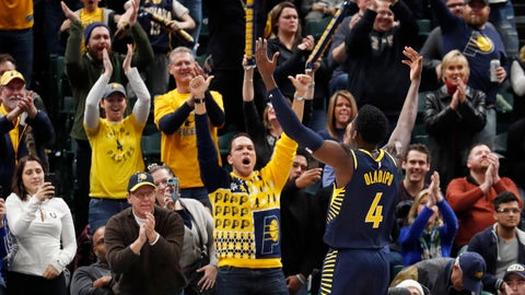 Dec 23, 2017; Indianapolis, IN, USA; Indiana Pacers guard Victor Oladipo (4) gestures for the crowd to make some noise in a game against the Brooklyn Nets during overtime at Bankers Life Fieldhouse. Mandatory Credit: Brian Spurlock-USA TODAY Sports