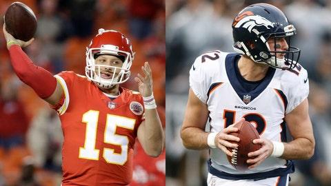 Chiefs quarterback Patrick Mahomes II and Broncos quarterback Paxton Lynch