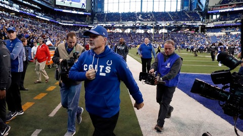 Dec 31, 2017; Indianapolis, IN, USA; Indianapolis Colts coach Chuck Pagano reacts as he walks off the field after the game against the Houston Texans at Lucas Oil Stadium. Mandatory Credit: Brian Spurlock-USA TODAY Sports