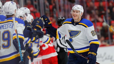 St. Louis Blues right wing Dmitrij Jaskin (23) celebrates his goal against the Detroit Red Wings in the third period of an NHL hockey game, Saturday, Dec. 9, 2017, in Detroit. (AP Photo/Paul Sancya)