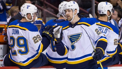 Dec 23, 2017; Vancouver, British Columbia, CAN;  St. Louis Blues defenseman Vince Dunn (29) and centre Patrik Berglund (21) celebrate Berglund's goal against the Vancouver Canucks during the first period against the St. Louis Blues at Rogers Arena. Mandatory Credit: Bob Frid-USA TODAY Sports