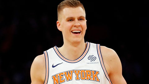 Dec 12, 2017; New York, NY, USA; New York Knicks forward Kristaps Porzingis (6) reacts during overtime against the Los Angeles Lakers at Madison Square Garden. Mandatory Credit: Adam Hunger-USA TODAY Sports