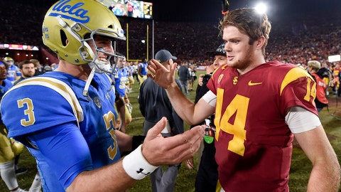 Nov 18, 2017; Los Angeles, CA, USA; Southern California Trojans quarterback Sam Darnold (right) and UCLA Bruins quarterback Josh Rosen (3) shake hands after their game at Los Angeles Memorial Coliseum. Mandatory Credit: Kelvin Kuo-USA TODAY Sports