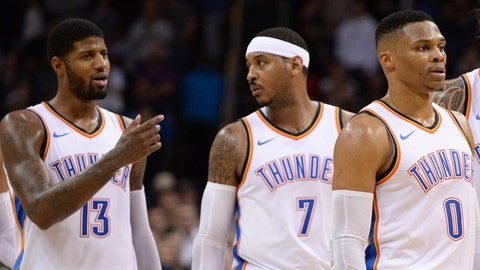Dec 5, 2017; Oklahoma City, OK, USA; Oklahoma City Thunder guard Andre Roberson (21) forward Paul George (13) forward Carmelo Anthony (7) guard Russell Westbrook (0) and center Steven Adams (12) take the court after a timeout in action against the Utah Jazz during the fourth quarter at Chesapeake Energy Arena. Mandatory Credit: Mark D. Smith-USA TODAY Sports