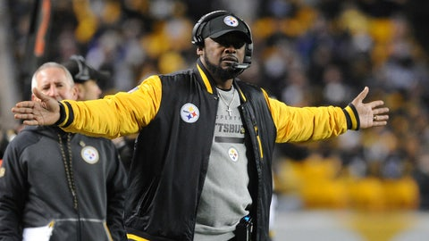 Dec 10, 2017; Pittsburgh, PA, USA; Pittsburgh Steelers head Mike Tomlin reacts after a call by an official in the fourth quarter against the Baltimore Ravens at Heinz Field. The Steelers won 39-38.  Mandatory Credit: Philip G. Pavely-USA TODAY Sports