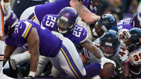 The Vikings' offensive line (↓ DOWN)