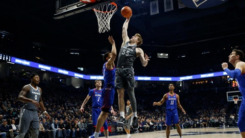 Dec 30, 2017; Cincinnati, OH, USA; Xavier Musketeers guard J.P. Macura (55) shoots during the first half against the DePaul Blue Demons at the Cintas Center. Mandatory Credit: Frank Victores-USA TODAY Sports