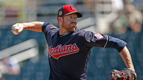 Cleveland Indians relief pitcher Zach McAllister throws against the Oakland Athletics during the first inning of a spring training baseball game Thursday, March 16, 2017, in Goodyear, Ariz. (AP Photo/Ross D. Franklin)