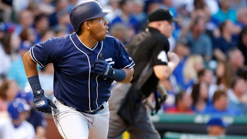 San Diego Padres' Yangervis Solarte watches his home run off Chicago Cubs starting pitcher Jon Lester during the third inning of a baseball game Monday, June 19, 2017, in Chicago. (AP Photo/Charles Rex Arbogast)
