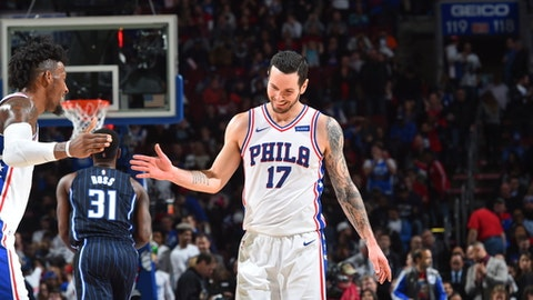PHILADELPHIA,PA -  NOVEMBER 25 : JJ Redick #17 of the Philadelphia 76ers smiles after a play against the Orlando Magic at Wells Fargo Center on November 25, 2017 in Philadelphia, Pennsylvania NOTE TO USER: User expressly acknowledges and agrees that, by downloading and/or using this Photograph, user is consenting to the terms and conditions of the Getty Images License Agreement. Mandatory Copyright Notice: Copyright 2017 NBAE (Photo by Jesse D. Garrabrant/NBAE via Getty Images)