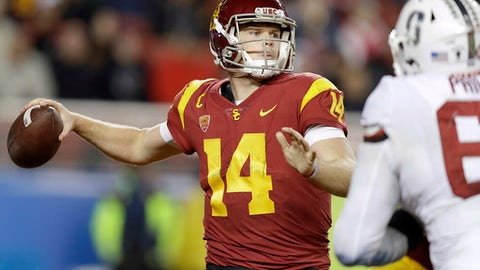 Southern California quarterback Sam Darnold (14) prepares to throw a pass against Stanford during the second half of the Pac-12 Conference championship NCAA college football game in Santa Clara, Calif., Friday, Dec. 1, 2017. (AP Photo/Marcio Jose Sanchez)