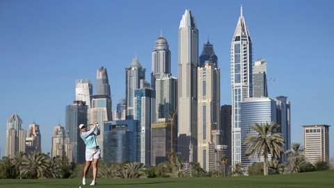 Brittany Lincicome of the United States plays a shot on the 14th fairway during the second round of the Dubai Ladies Classic golf tournament in Dubai, United Arab Emirates, Thursday, Dec. 7, 2017. (AP Photo/Kamran Jebreili)